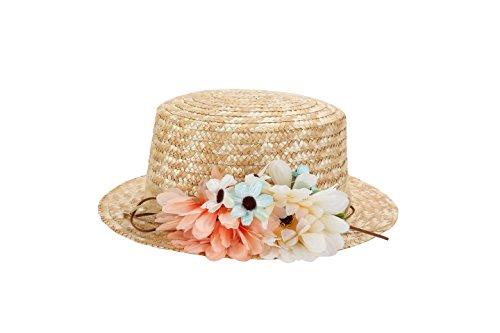 DISOK Sombrero Canotier de Vestir con Cinta y Flores - Ideal para Bodas, Fiestas y Celebraciones, Mujer, Mujeres Originales, con Flores. Baratos Canotier Paja (Precio Unitario) Tocados, invitada