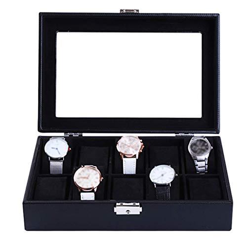 GQSHK GQSHK Uhrenbox Schmuckkollektion Kunstleder Vitrine Aufbewahrungsvitrine Organizer mit Glasdeckel und 10 abnehmbaren Aufbewahrungskissen