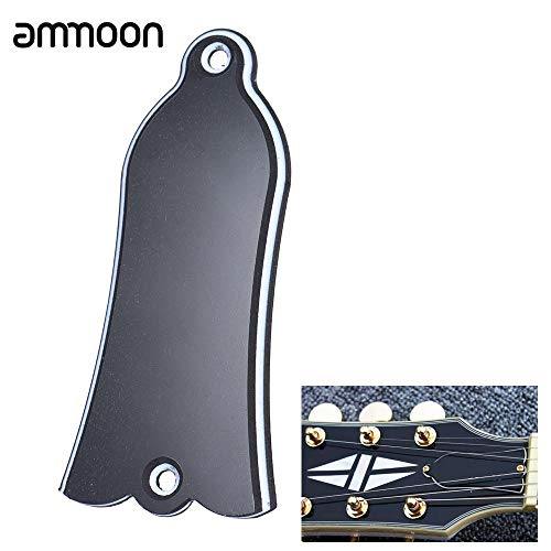 Generic 2 Holes Bell-shaped PVC Truss Rod Cover Plate Scroll Plate for LP SG Flying V ES Guitar Black (as show)