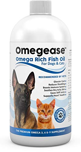 100% Pure Omega 3, 6 & 9 Fish Oil for Dogs and Cats. Supports Joint Function, Immune & Heart Health. All Natural EPA + DHA Fatty Acids for Skin & Coat. Liquid Food Supplement for Pets - 32 oz