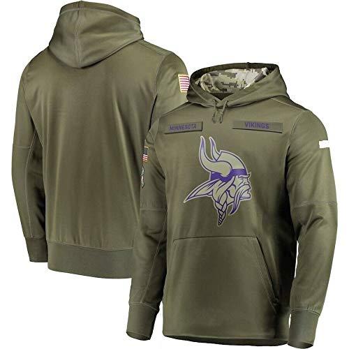 NFL Jersey Minnesota Vikings-Fan Hoodie, grün hohe Qualität Armee gestickten Sweatshirt, American-Football-Trikot NFL Hoodie (Color : Woman, Size : XL)