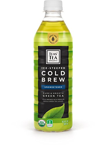 Teas' Tea Organic Cold Brew Unsweetened Green Tea (Pack of 12) Organic Zero Calories, Sugar Free