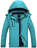 Wantdo Women's Waterproof Snowboard Jacket Windproof Ski Coat Blue Green X-Large