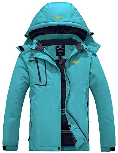 Wantdo Women's Waterproof Snowboard Jacket Windproof Ski Coat Blue Green X-Large