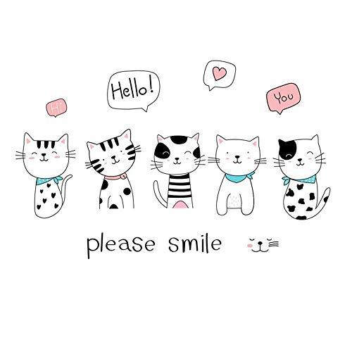 Zoharm Cartoon Lächelnde Katze Kombination Wandaufkleber Schlafzimmer Wohnzimmer Kinderzimmer Dekoration für Zuhause Dekor Aufkleber Kinderzimmer Tapete