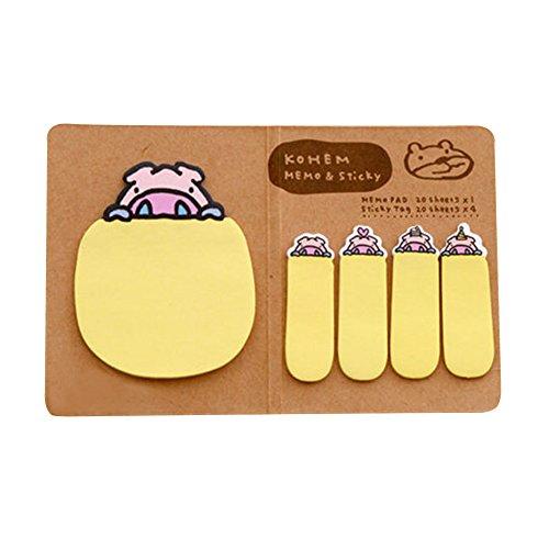 dairyshop Cute Funny personalizada Animal adhesivo Post It bandera de Memo Notas Adhesivas, color amarillo