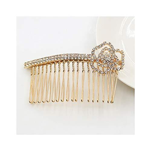 Women Gold Plating Metal Alloy Tuck Comb Rhinestone Bowknot Crown Hair Clip Wedding Hair Jewelry,Rose 5723