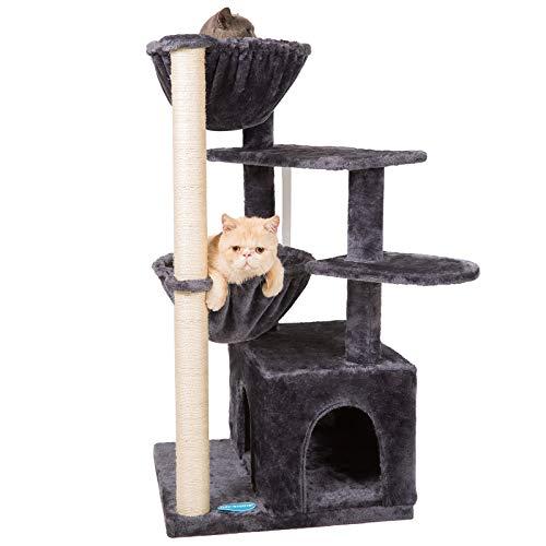 Hey-brother Mehrebenen Kratzbaum Kletterbaum, Katzenbaum mit Sisal Kratzbäumen, Katzenmöbel mit 1 Großer Höhlen und 2 Hängematte Rauchgrau EMPJ008G