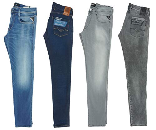 Replay Herren Jeans Hyperflex Anbass Hose Jeanshose Slim Fit, Farbe:Dunkelblau, Größe:28W / 34L
