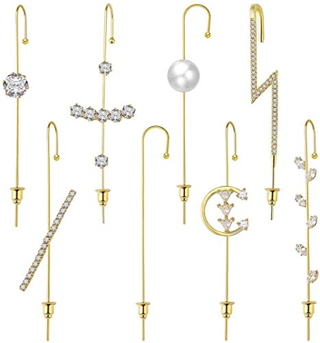 Orejeras Pendientes de gancho sobre orugas | Pendientes de gancho de oruga perforados hipoalergénicos para mujeres-A - Pendientes de oro