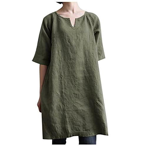 Blusa de lino para mujer, verano, otoño, cuello en V, camisa de lino, elegante, media manga, camisa para mujeres, adolescentes, niñas, informal, suelta, suelta, para ocio, túnica A01 XL