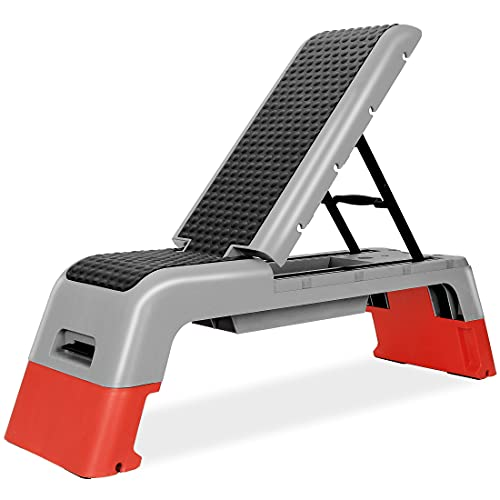 ANT MARCH Multifunctional Fitness Deck Professional Aerobic Deck Stepper for Exercise Adjustable Workout Aerobic Stepper Step Bench Platform Strength Training Adjustable Benches for Home Gym (Red)