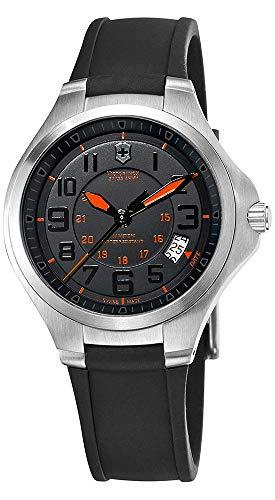 Victorinox Swiss Army Base Camp Steel Quartz Black Rubber Strap Men's Watch Black Dial Date 241464