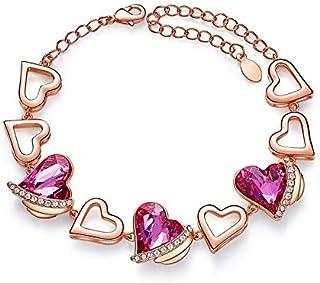اساور كريستال بتصميم قلب للنساء، اساور جديدة عصرية بتصميم ساحر ولون ذهبي، مجوهرات الزواج والزفاف، هدية العشاق