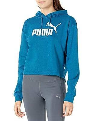 PUMA Women's Elevated Essentials Fleece Cropped Hoodie, Digi-Blue, L
