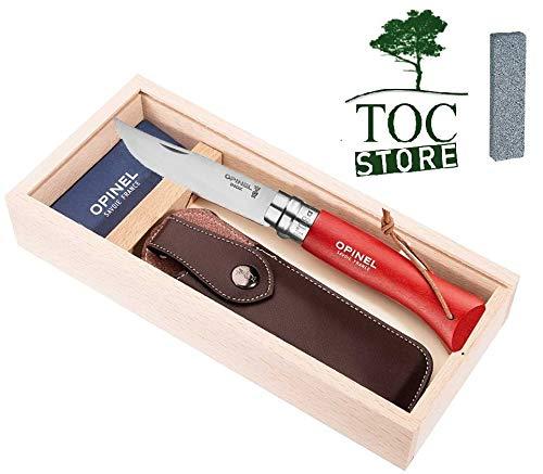 TOC STORE Opinel Taschenmesser mit Lederriemen Set Farbe rot inkl. Etui und Geschenkbox aus Holz