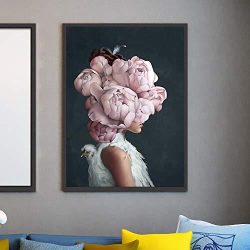 wZUN Impresión de Arte de Pared Abstracto Flores Rosas pájaro y Cabeza de niña Cartel Lienzo Pintura Imagen decoración para el hogar 60x80 Sin Marco