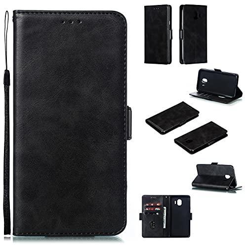 Cubierta de la caja del tirón del teléfono Funda de billetera telefónica para Samsung Galaxy J4 2018 / J400, Vintage premium PU Funda de billetera de cuero con soporte de...