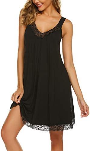 Ekouaer Women Lace Lingerie Sleepwear Chemises V Neck nightwear Babydoll Nightgown Dress Black product image