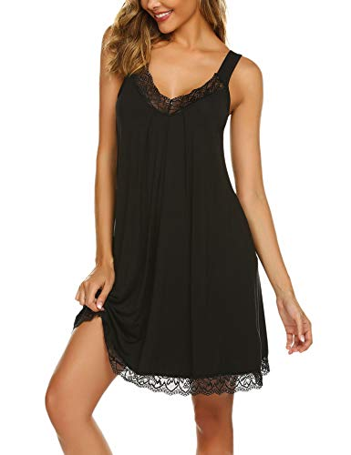 Ekouaer Sleep Gown Women Chemise V Neckline Lace-Trimmed Nightgown Scalloped Hem Cotton Nightwear Sleeping Skirt Black