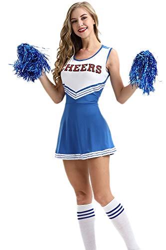 Jumojufol Vestido De Línea A De Deporte Elegante Disfraz De Animadora De Estudiante para Mujer Azul S