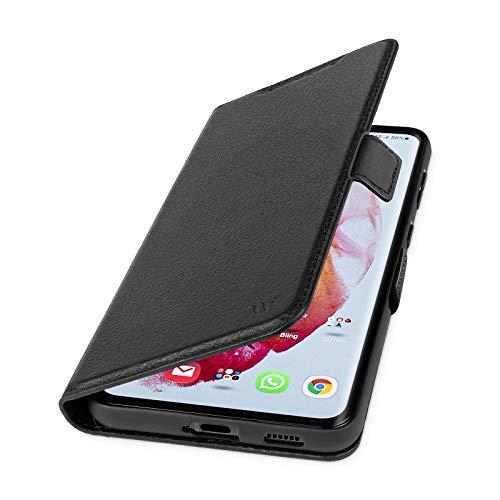 WIIUKA Hülle für Samsung Galaxy S21 Ultra, Lederhülle mit Vier Kartenfächern, extra Dünn, Premium Leder, Handyhülle mit Standfunktion, Schwarz