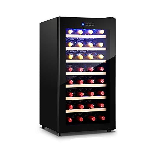 CLING Cantinetta frigo per Vino 32 Bottiglie Frigorifero da Incasso o da Libero Posizionamento con Luce in Acciaio Inox e Vetro temperato Cavo temperato a Triplo Strato Luce Blocco Porta 75 Litri
