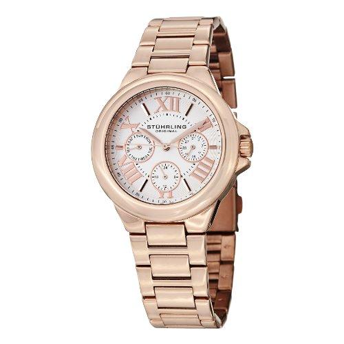 Stührling Original 367.03 - Reloj multifunción para Mujer, Correa de Acero Inoxidable, Color Oro Rosa