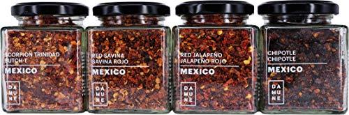 DAMUNE Chiles en Escamas: Jalapeño Rojo Escamas - 80 g, Chipotle Escamas - 80 g, Habanero Red Savina Escamas - 50 g y Habanero Scoprion Trinidad Escamasn - 60 g