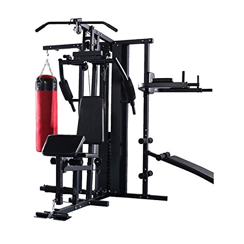 EIU Multi Gym Workout Station   Home Fitness Body Exercise Machine   home gym Total-body Workout   Multifunctional Workout three people Station,Sandbag, pull-ups, supine board(200kg Black Red )