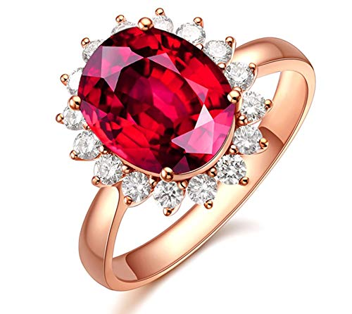 Gnzoe Jewlery Gift - 18K Rose Gold Engagement Rings for Women Sun Flower Ring with Tourmaline 1.3ct-Red Size 11