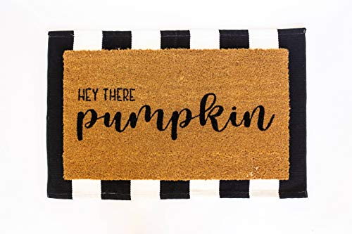 Layered Outdoor Hey Pumpkin Mat Set - Coconut Coir (17-inch x 30-inch) and Woven Doormat (24-inch x 35-inch) Combo Inside or Outside Pet Friendly Rug for Entry Porch or Patio (Black and White Stripe)