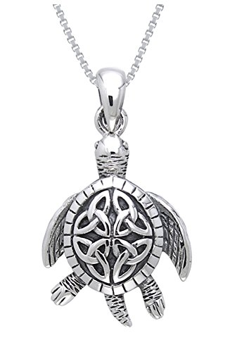 Jewelry Trends Sterling Silver Celtic Turtle Trinity Knot Pendant with 18 Inch Box Chain Necklace