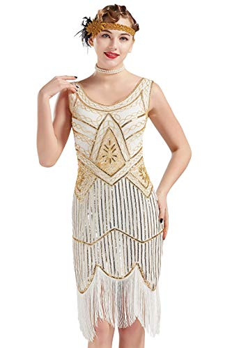 ArtiDeco Damen Pailletten 1920s Kleid Flapper Charleston Kleid V Ausschnitt Great Gatsby Motto Party Damen Fasching Kostüm Kleid (Gold Weiß, S (Fits 84 cm Bust, Length 92 cm))