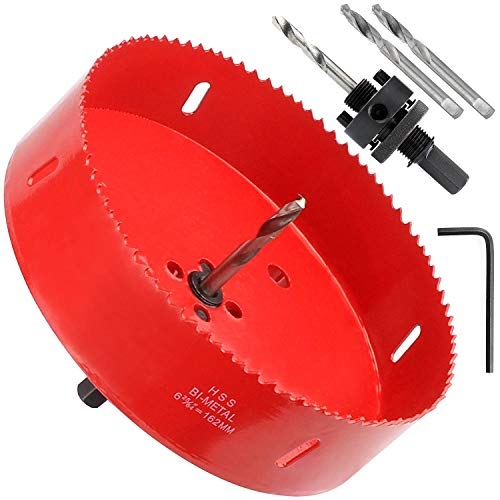 6-3/8 Inch Hole Saw with Heavy Duty Arbor - 38mm Cutting Depth HSS Bi-Metal Hole Cutter for Can Light Recessed Light, Smoothly Cutting in Wood, Plastic, Drywall and Metal Sheet