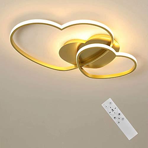 Lámpara LED de techo regulable para habitación de niñas, dormitorio con mando a distancia, diseño de corazón con pantalla de acrílico, lámpara de techo lámpara decorativa de techo de 50 x 5 cm Dorado