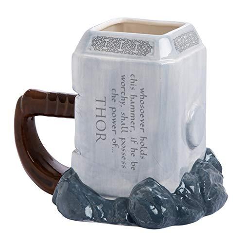 Taza de cerámica 3D, Taza de café Creativa de Dibujos Animados, Forma clásica de Martillo Thor, Utilizada para la colección de Regalos Decorativos, 450 ml, Gris