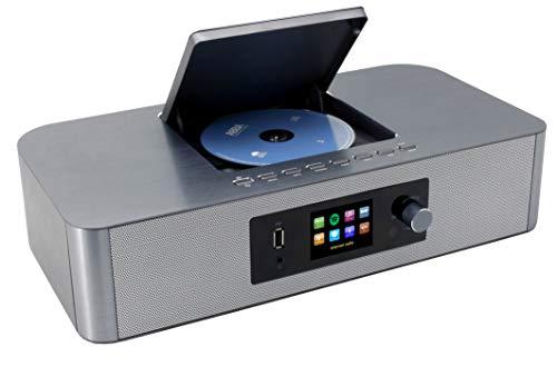 Soundmaster ICD2020 Internetradio DAB+ UKW Radio Netzwerkplayer CD-MP3 Fernbedienung App-Steuerung Spotifyfunktion in Silber