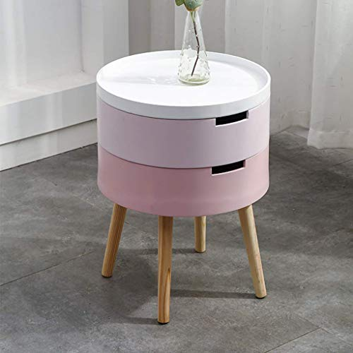 HLJ Nachttisch Round Night Stand Storage- Mit 2 Schubladen-Leitungsseite-Table- Massivholz-Legs-Nordic Stil (Color : B)