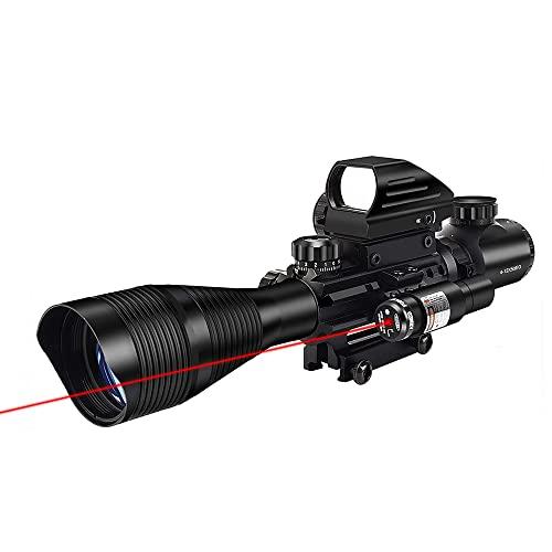 MidTen Riflescope Combo 4-12x50EG Dual Illuminated Optics & IIIA/2MW Laser Sight(Red) & 4 Holographic Reticle Red/Green Dot Sight & 20mm Scope Mount