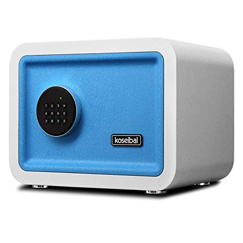 Koseibal Digital Security Safe Box for Home & Office, Modern Design Electronic Cabinet, Anti-Theft Safe Box, Strong Box for Passports,Cash,Bill,Jewelry,Guns, White/Blue