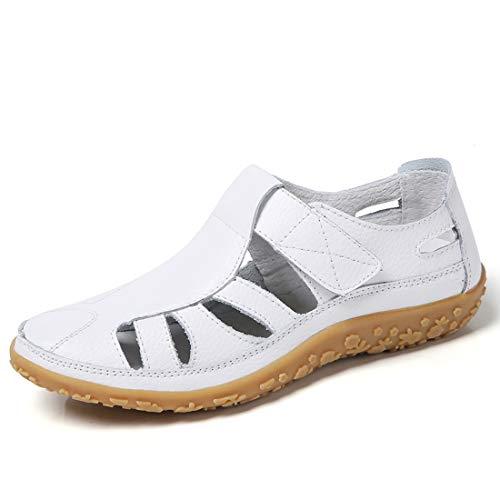 Z.SUO Sandales Femmes Plates Cuir Casuel Confort Mocassins Loafers Chaussures de Conduite La Mode Été Chaussures de Marche Tongs Sandales(40 EU,A Blanc)