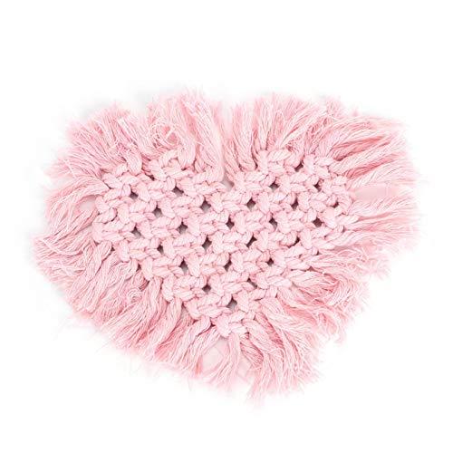 Alfombrilla para macetas, almohadilla para taza de café para el hogar, algodón natural de 4 colores con(Pink, Heart-shaped)