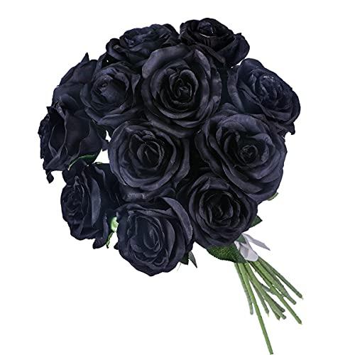 Kisflower 12Pcs Rosen Künstliche Blumen Realistische Einzelstielblumen Seidenrosenstrauß für Hochzeitsfeier Büro Home Decor (Schwarz)