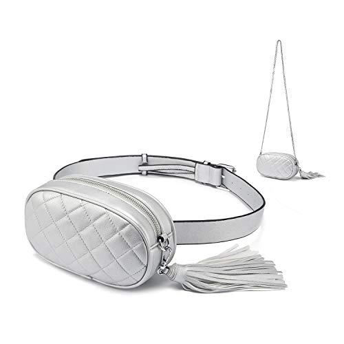Gürteltasche Damen Bauchtasche Hüfttasche Mode Umhängetasche Damen Klein Wandern mit Quaste Silber