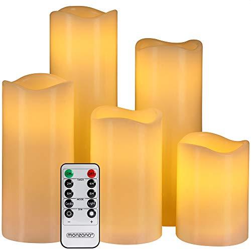 Monzana 5 LED Echtwachs Kerzen mit Fernbedienung Timerfunktion Flamme flackernd 5 unterschiedliche Größen Ø7,5cm breit groß