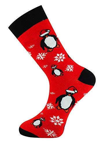 Mysocks Calcetines de Navidad Unisex pingüino negro rojo