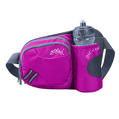 TRIWONDER Trinkgürtel mit Trinkflasche, Hüfttasche Gürteltasche mit Flaschenhalter für Laufen Joggen Damen und Herren (Rose Rot)