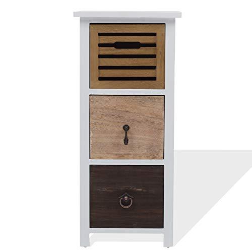 Rebecca Mobili Comodino 3 cassetti, cassettiera piccola, legno Paulownia, marrone beige bianco, stile vintage retro, camera bagno - Misure: 69 x 31 x 27 cm (HxLxP) - Art. RE4315