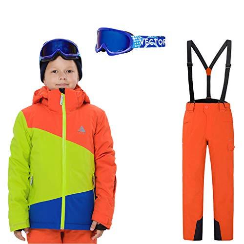 DUBAOBAO Winterski-jassen en -broeken voor jongens en meisjes, inclusief bril, kinderskipakken, waterdicht, warm en lichtgewicht, mooie jassen,